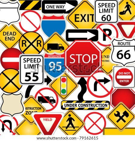 Collage of road and traffic signs - stock vector