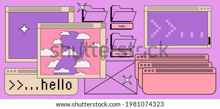 Collage of the user interface elements in vaporwave retro style. Zdjęcia stock ©