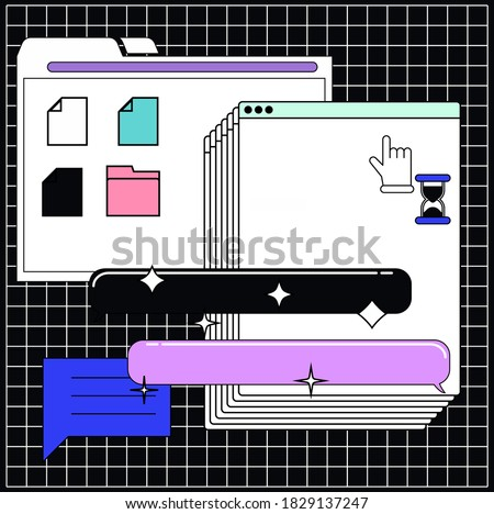 Collage of user interface elements. Cyberpunk and vaporwave aesthetics of 80's.