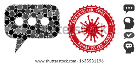 Collage opinion cloud icon and red rounded rubber stamp seal with Hainan Island, China caption and coronavirus symbol.