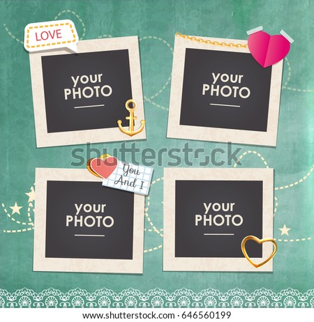 Shutterstock Collage photo frame on vintage background. Album template for kid,baby, family or memories.Scrapbook concept, vector illustration.
