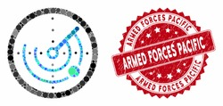 Collage round radar and grunge stamp seal with Armed Forces Pacific text. Mosaic vector is designed with round radar icon and with random round elements.
