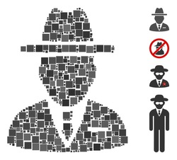 Collage Spy person icon united from square elements in random sizes and color hues. Vector square elements are combined into abstract collage spy person icon. Bonus pictograms are placed.