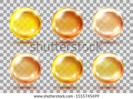 Collagen golden balls. Realistic cosmetic oil capsules, liquid serum drop, transparent pills. Vector yellow collagen drops set