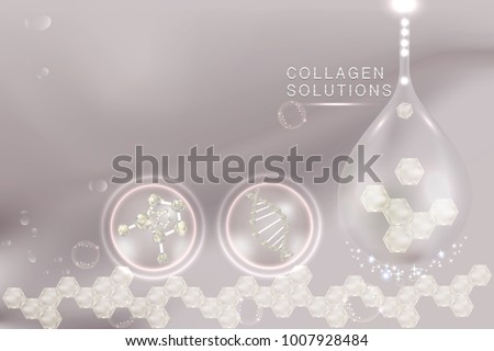 Collagen Serum drop, cosmetic advertising background ready to use, luxury skin care ad. illustration vector.