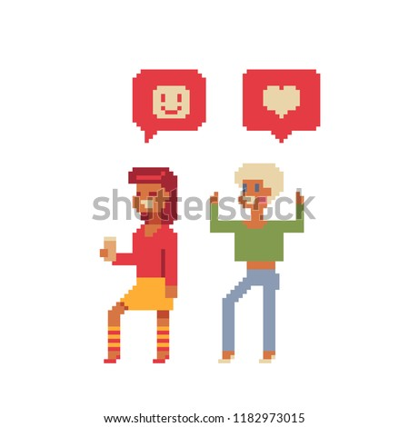 Colleague cheerful girls pixel art characters. Couple of young people. Social media notification. Comment heart, smile message. Happy students, youth. Isolated vector illustration.   Design for web.