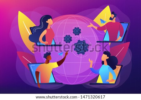 Colleagues business meeting, company internet webcast. Online meetup, join meetup group, meetup website service, best communication here concept. Bright vibrant violet vector isolated illustration