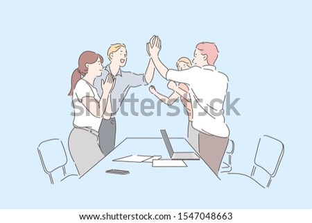 Colleagues celebrate success concept. Cheerful business people oclapping hands, applauding on professional achievement, happy coworkers victorious gestures or teamwork.Simple flat vector