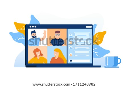 Colleagues talk to each other on the laptop screen. Conference video call, working from home. Talking to colleagues about plan online. Multiethnic business team using laptop for a online meeting