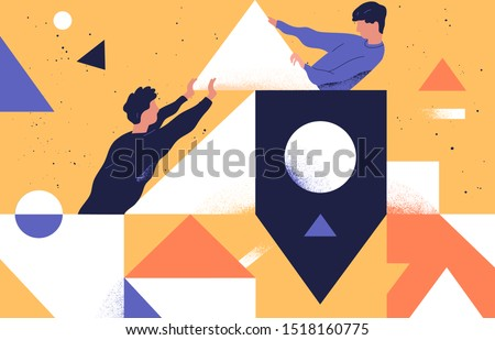 Colleagues teamwork concept flat vector illustration. Male coworkers cartoon characters and abstract geometrical shapes. Coworking, support and problem solving concept. Businessmen communication.