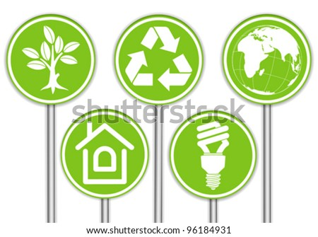 Collect Banner with Environment Icon, Tree, Leaf, Light Bulb and Recycling Symbol, vector illustration
