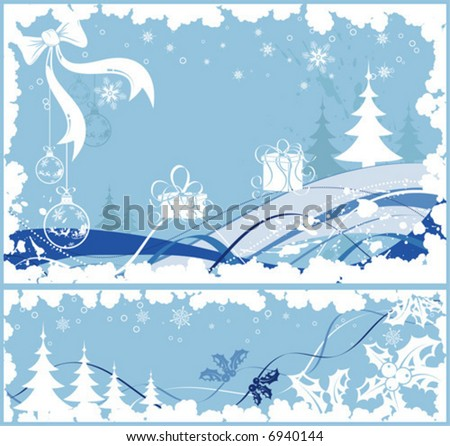 Collect christmas frame with baubles & gifts, element for design, vector illustration