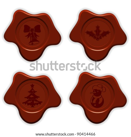 Collect Christmas Sealing Wax with Bell, Tree, Snowman isolated on white, vector illustration
