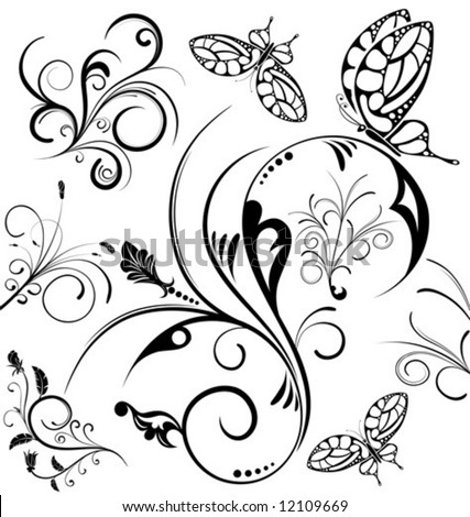 Collect flower with butterfly, element for design, vector illustration