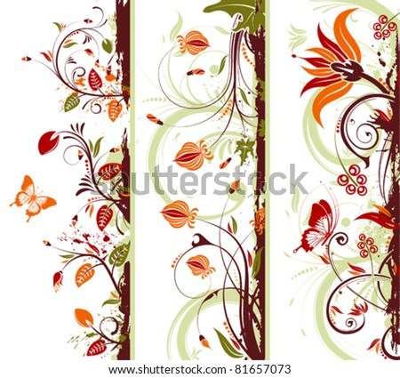 Collect Grunge floral frame with butterfly, element for design, vector illustration - stock vector