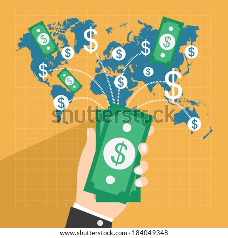 Collect money flat design vector illustration business Collect and save