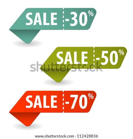 Collect Sale Signs with Tear-off Coupon, vector illustration