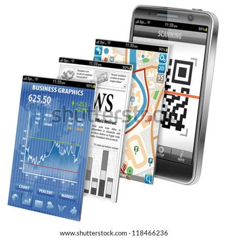Collect Smartphone Applications - Stock Market, Business News, GPS Navigation and Scanning QR Code, icon isolated on white, vector