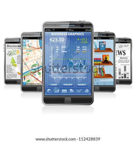 Collect Smartphones with Stock Market Application Business News GPS Navigation and Reading Books Application