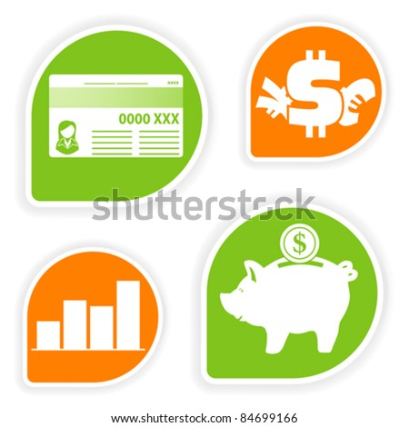 Collect Sticker With Business And Finance Icon Element: collect and save