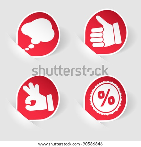 Collect Sticker with Hand, Speech Bubble and Stamp Icon, Mounted in Pockets, vector illustration