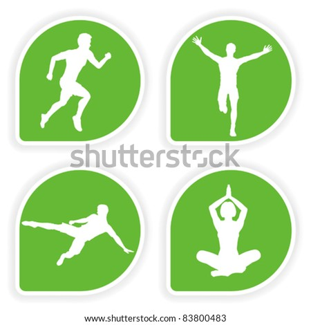 Collect Sticker with silhouettes running man, yoga girl and soccer player, vector illustration
