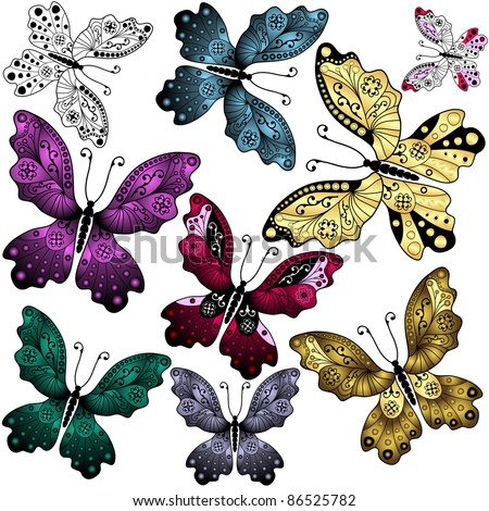 Collection abstract colorful butterflies on white (vector)