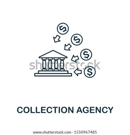 Collection Agency icon outline style. Thin line creative Collection Agency icon for logo, graphic design and more.