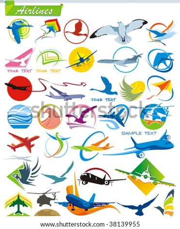 COLLECTION_1 Air lines vector Icons for Web. Series symbols of tourism Airplane. A set of transportation abstract color element corporate templates. Just place your own company name.