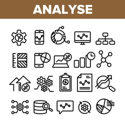 Collection Analyse Element Sign Icons Set Vector Thin Line. Market Graph Detail Of Analyse Linear Pictograms. Diagram On Smartphone Display And Computer Laptop Monitor Monochrome Contour Illustrations