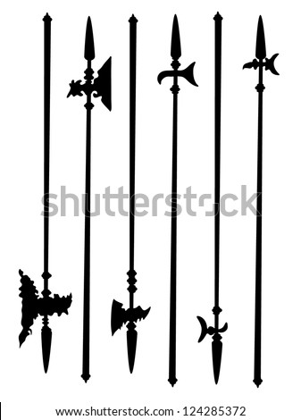 collection ancient halberds
