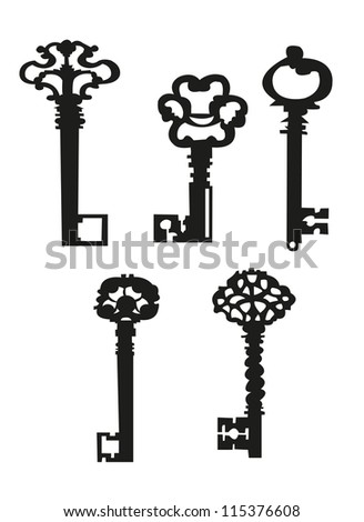 Collection antique and modern keys, vector illustration EPS 10