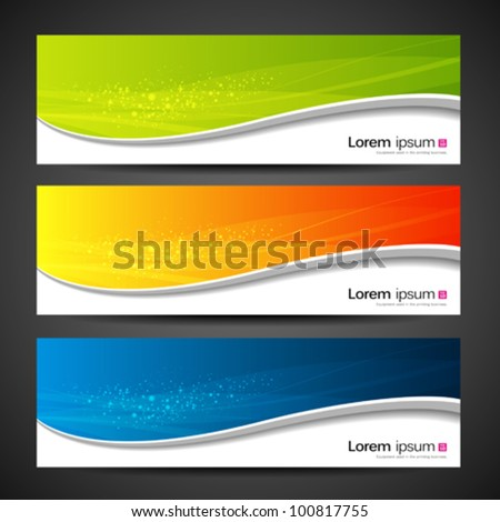 Collection banners modern wave design, colorful background. vector illustration - stock vector