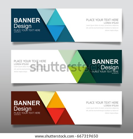 Collection blue green and red horizontal business banner set vector templates. Clean modern geometric abstract background layout for website design. Simple creative cover header. In rectangle size. #667319650