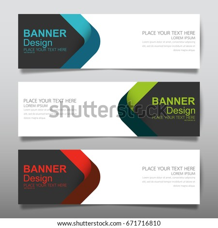 Collection blue green and red horizontal business banner set vector templates. Clean modern geometric abstract background layout for website design. Simple creative cover header. In rectangle size.