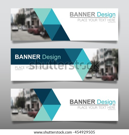 Collection blue horizontal business banner set vector templates. clean modern geometric abstract background layout for website design. simple creative cover header. in rectangle