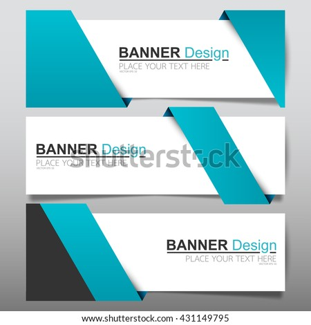 Collection blue ribbon horizontal business banner set templates vector. clean modern geometric abstract background layout for website design. simple creative cover header. in rectangle size.