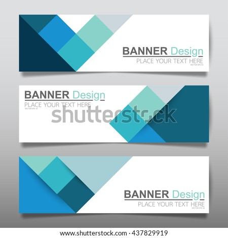 Collection blue square horizontal business banner set templates vector. clean modern geometric abstract background layout for website design. simple creative cover header. in rectangle size.