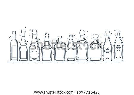 Collection bottle alcoholic drinks. Alcohol container stand in row. Illustration isolated. Flat design style. Beer champagne red wine liquor vodka martini vermouth whiskey rum tequila. Vector.  ストックフォト ©