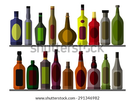 Collection bottle for alcoholic. Eps10 vector illustration. Isolated on white background #291346982