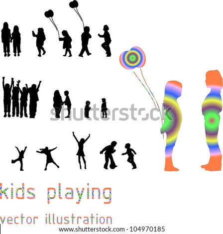 Collection boys having fun. Vector illustration