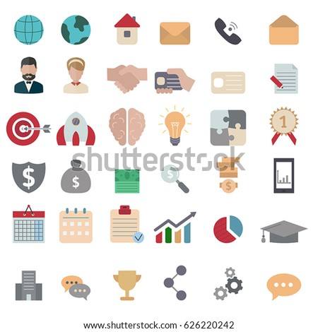 Collection business icons. Business elements to use in web, smart phone application etc. Flat style.