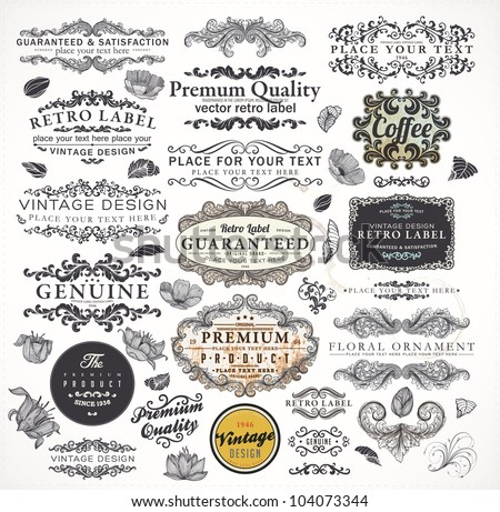 Collection: calligraphic design elements and page decorations, Premium Quality and Satisfaction Guarantee Label set with vintage engraving flowers, leafs and floral frames. Grunge vector texture.