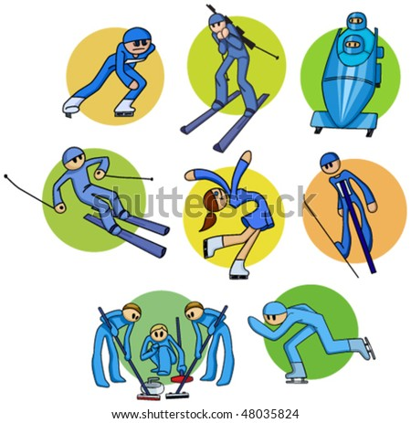 Collection cartoon athletes of winter sports - stock vector