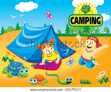 Collection cartoon personage. Camping. Sweetheart.