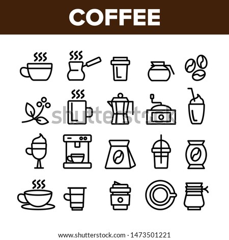 Collection Coffee Equipment Sign Icons Set Vector Thin Line. Coffee And Latte Cup, Beverage Machine And Brewing Pot Linear Pictograms. Morning Energetic Drink Monochrome Contour Illustrations