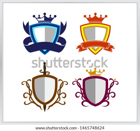Collection collection icon. four modern shields flat style isolated.