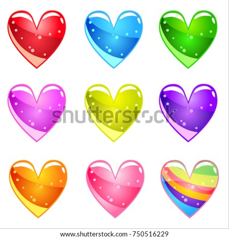 Collection Cute cartoon glossy hearts with jelly in different colors. Vector assets Magic love item for web or game design. Decorative GUI elements, Colorful icon set, isolated on white background.