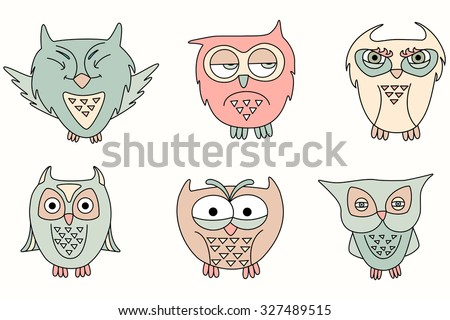 collection cute cartoon owls