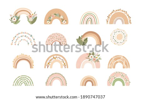 collection cute rainbows with